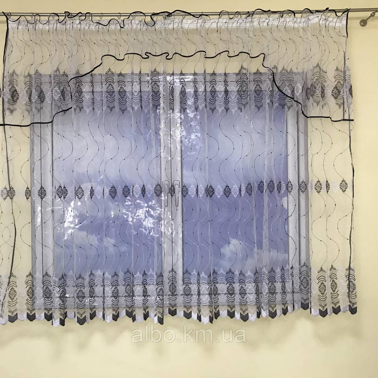 Короткая тюль в зал из турецкого фатина ALBO 400x180 cm Бело-черная (KU-140-14)