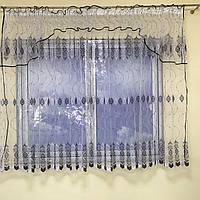Короткая тюль в зал из турецкого фатина ALBO 400x180 cm Бело-черная (KU-140-14), фото 1