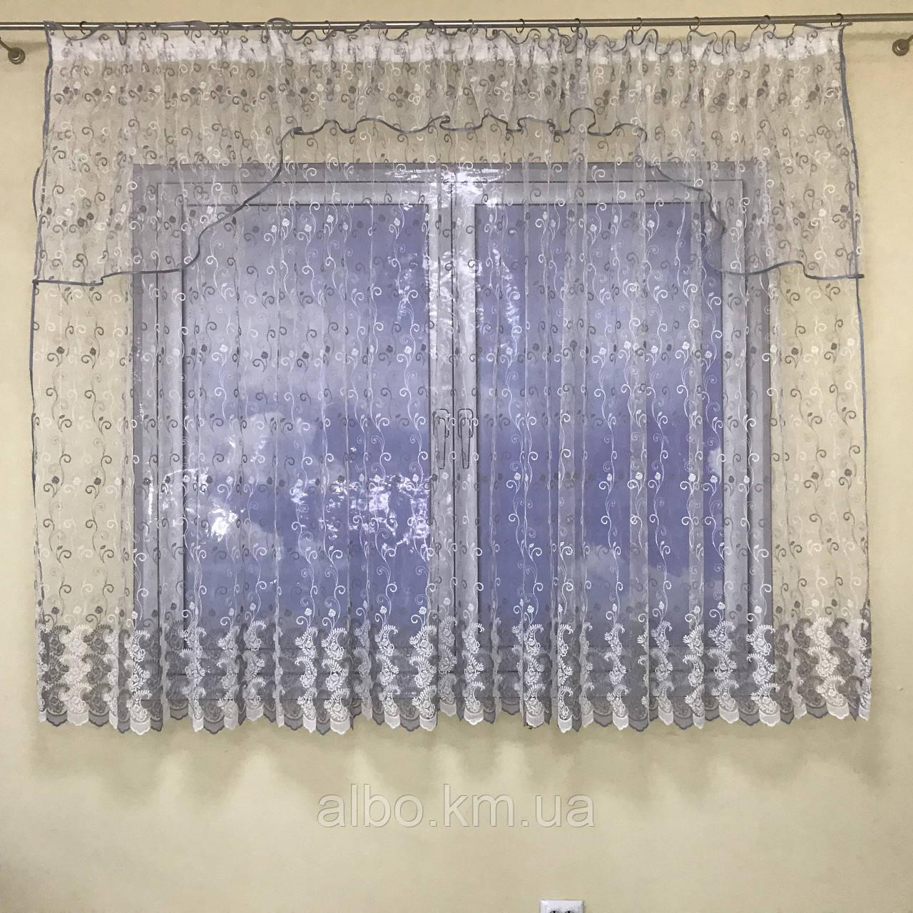 Короткая тюль в зал из турецкого фатина ALBO 400x180 cm Бело-серая (KU-140-10)