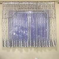 Короткая тюль в зал из турецкого фатина ALBO 400x180 cm Бело-серая (KU-140-10), фото 1