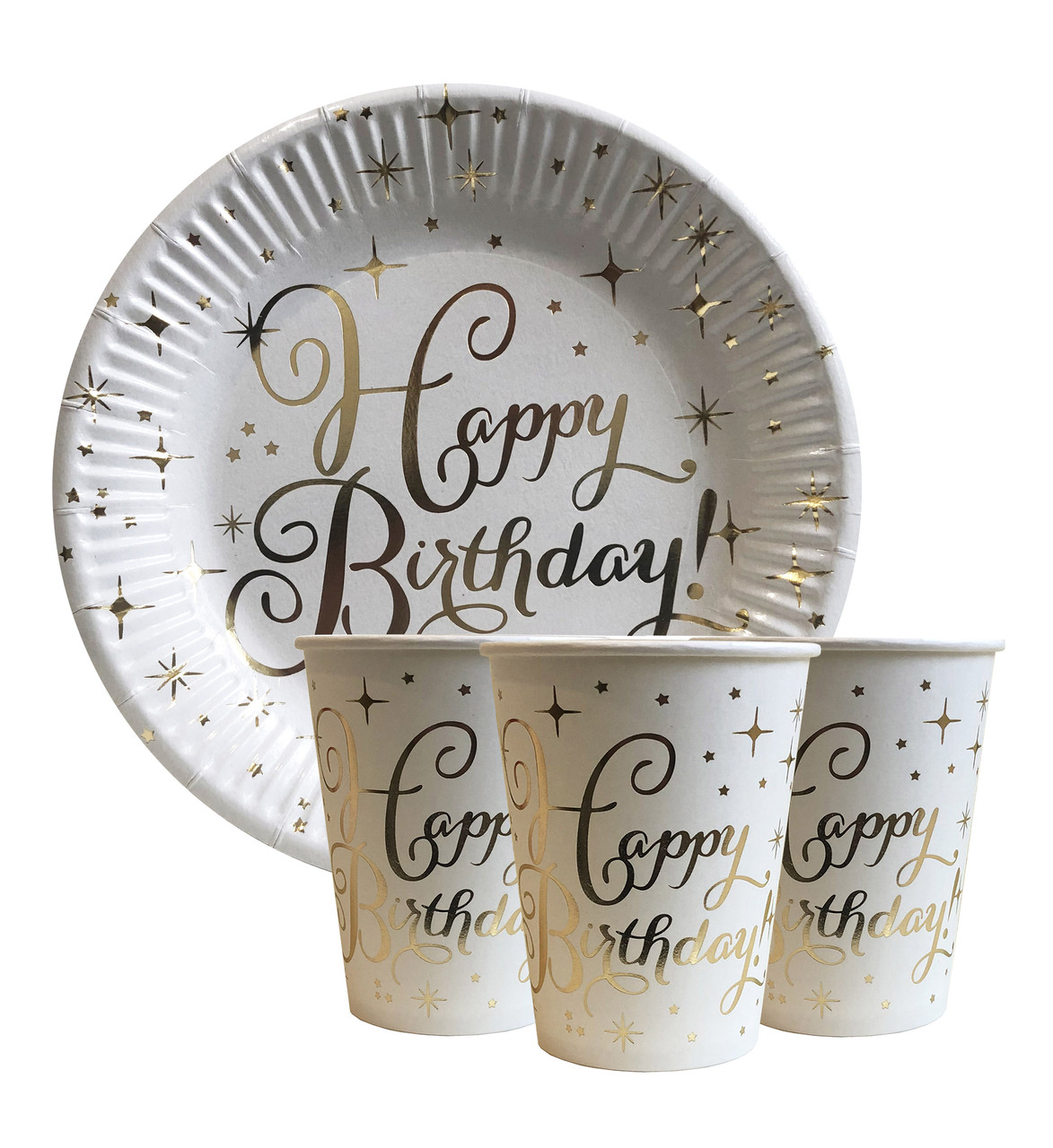 "Набор одноразовой посуды "" Happy Birthday золото "" Тарелки -10 шт Стаканчики - 10 шт"
