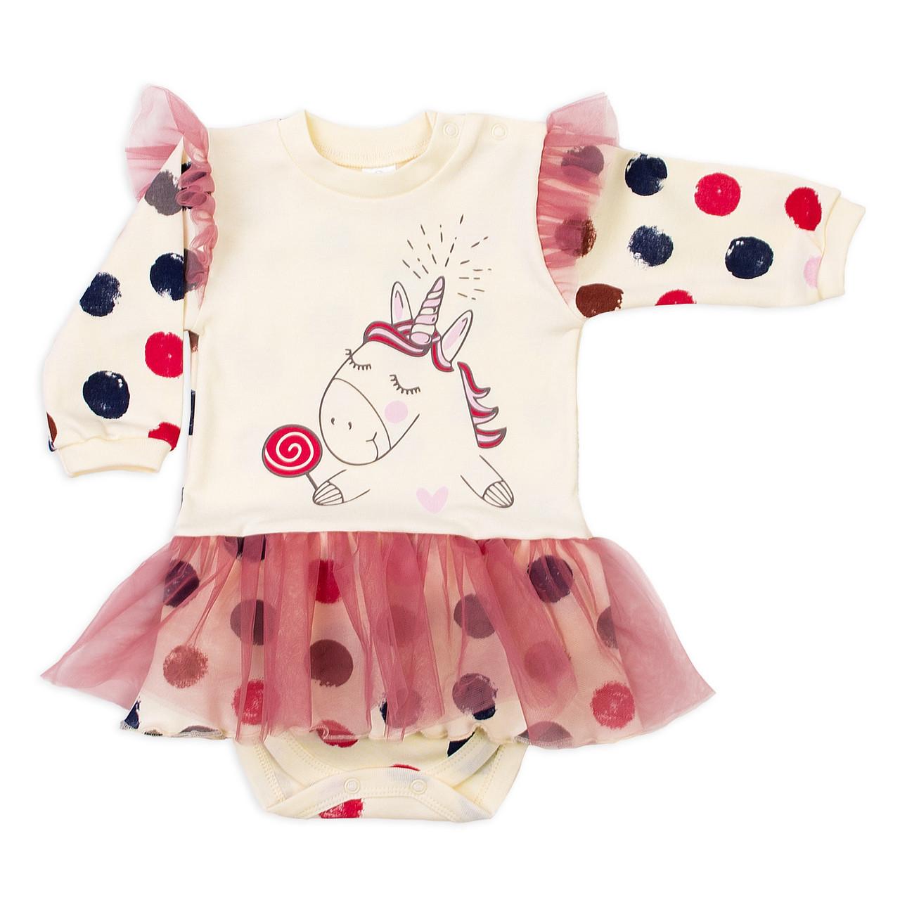 Боди-платье длинный рукав Baby Veres Sweet Unicorn интерлок молочный