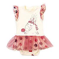 Боди-платье короткий рукав Baby Veres Sweet Unicorn интерлок молочный