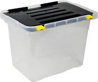 Ящик-контейнер для хранения Heidrun Dragon One пластиковый с крышкой и клипсами39.5х27 h27.5см 18л (652)