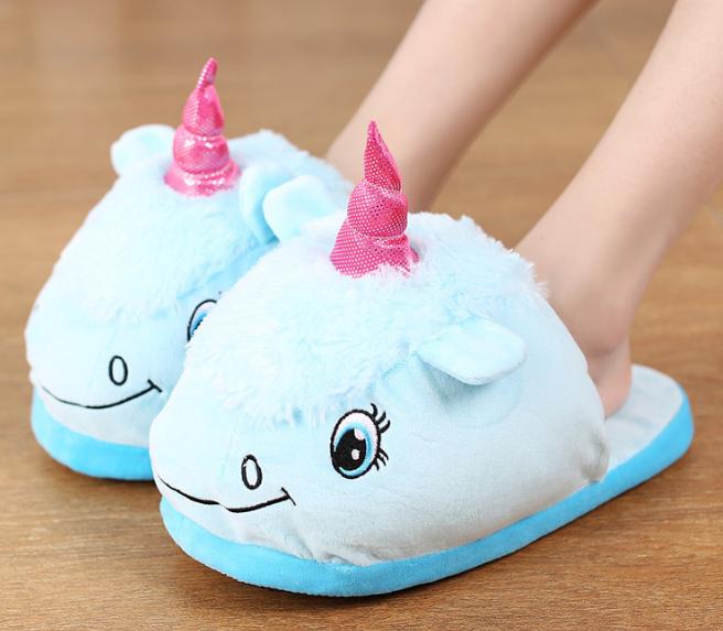 Детские домашние тапочки игрушки голубые  Единороги,30-35
