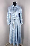 Платье женское в полоску голубое (L0128), фото 1