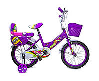 +Подарок Детский велосипед 16 дюймов Фиолетовый T15, Ручной и Дисковый Тормоз
