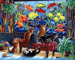 Коты и рыбки Раскраска картина по номерам на холсте ...