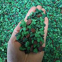 """Цветной щебень """"зеленый микс"""" 5-10мм"""