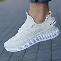 Кроссовки мужские белые трикотажные модные (код 7138) - чоловічі кросівки білі трикотажні модні, фото 1