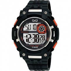 Мужские спортивные часы Q&Q M125J черные с оранжевыми вставками