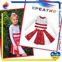 Красно-белые костюмы для команды по чирлидингу, костюмы для болельщиц (только оптом от 20 ед), фото 1