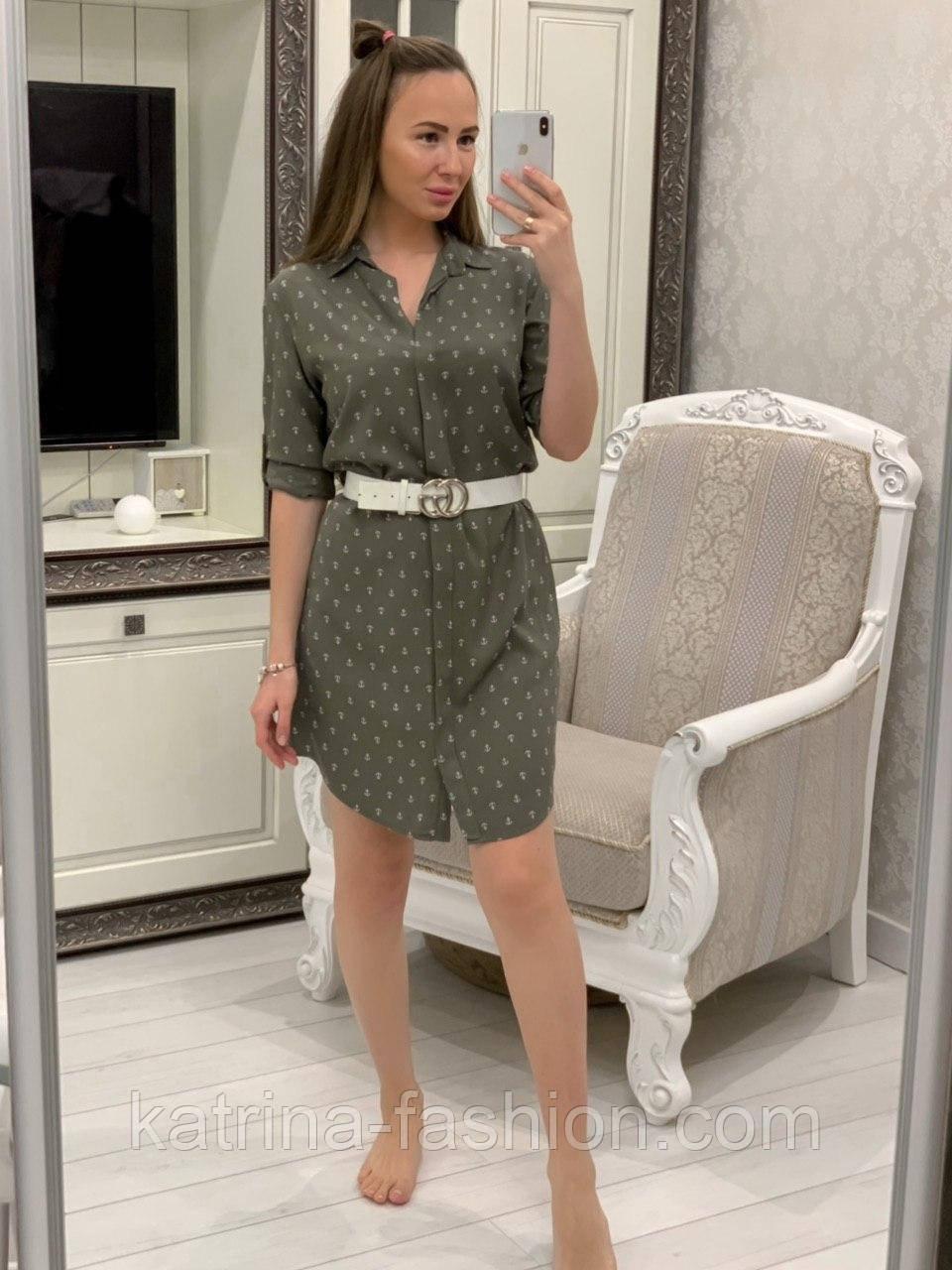Женское хлопковое платье-рубашка с якорями (2 цвета), размеры 42-48