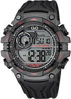 Мужские спортивные часы Q&Q M157J черные с красными вставками