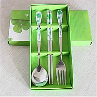 Набор столовых приборов с палочками, на одну персону (зеленый), фото 1