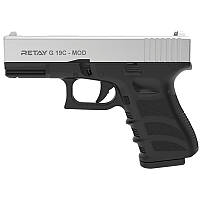 Пистолет сигнальный, стартовый Retay Glock G 19C (9мм, 7 зарядов), хром, фото 1