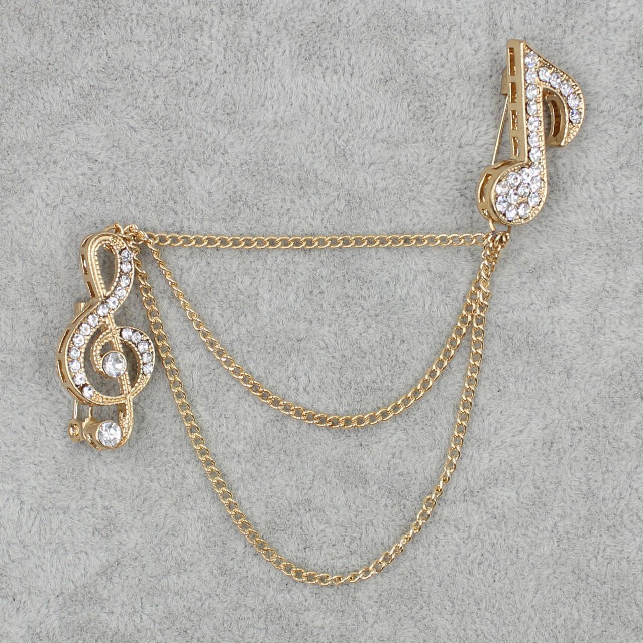 Брошь двойная Музыкальная тематика БижуМир металл золотого цвета