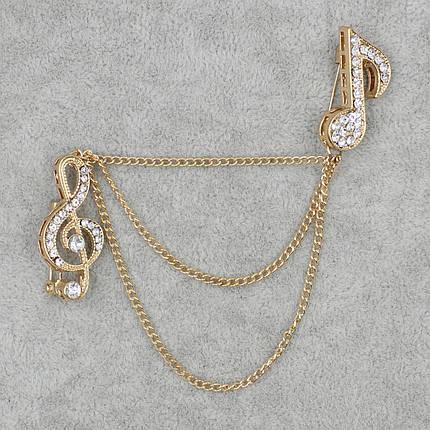 Брошь двойная Музыкальная тематика БижуМир металл золотого цвета, фото 2