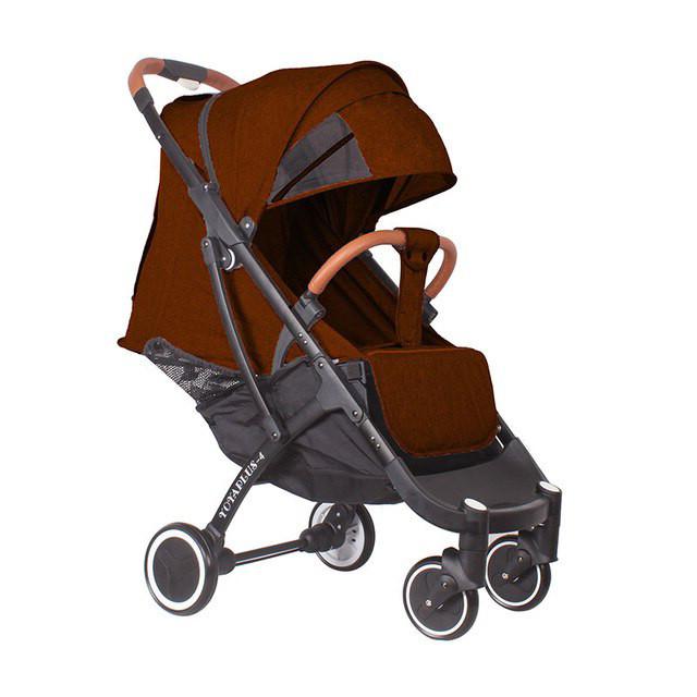 Детская прогулочная коляска YOYA plus 4 с утеплителем и большим дождевиком коричневая