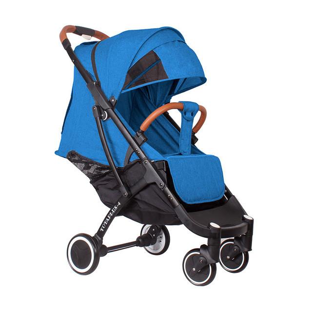 Детская прогулочная коляска YOYA plus 4 с утеплителем и большим дождевиком синяя