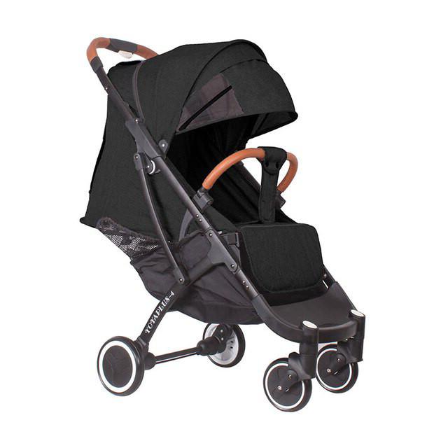 Детская прогулочная коляска YOYA plus 4 с утеплителем и большим дождевиком черная