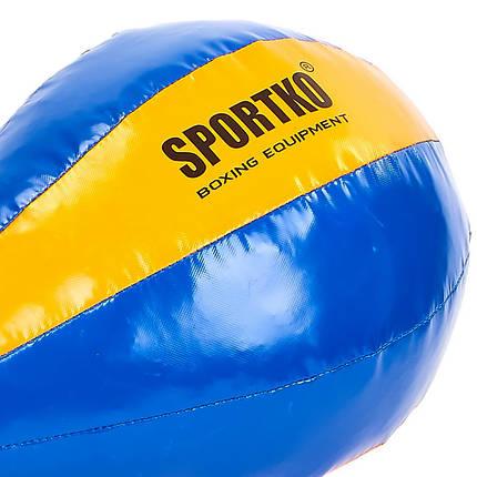 Груша набивная Каплевидная подвесная SPORTKO UR GP-4 (PVC, нап-рез.крош,тырс,d-45см,l-60см,вес-10кг, синий-оранжевый), фото 2