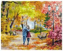 "Картина по номерам Белоснежка  ""Осенний парк, скамейка, двое"" 142-AB"