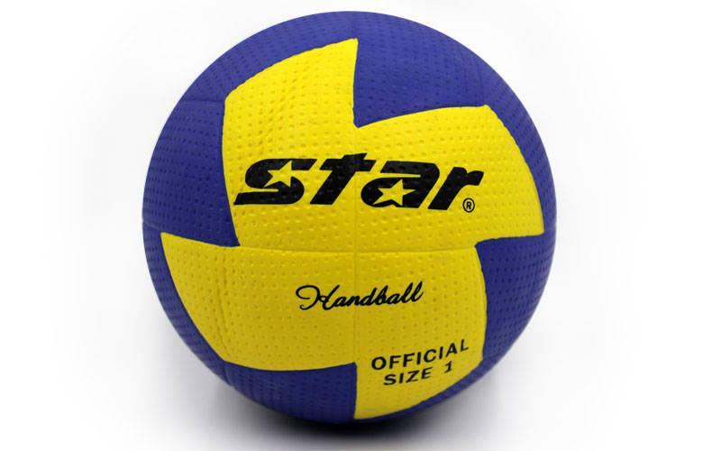 Мяч для гандбола Outdoor покрытие вспененная резина STAR JMC001 (PU, р-р 1, синий-желтый)