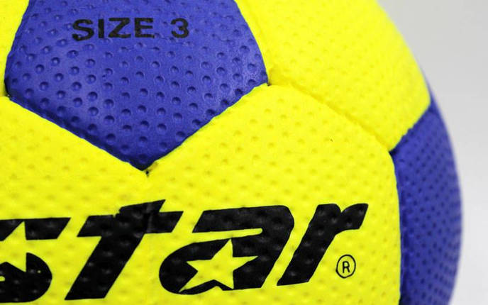 Мяч для гандбола Outdoor покрытие вспененная резина STAR JMC003 (PU, р-р 3, синий-желтый), фото 2