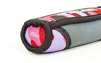 Гантели для фитнеса с мягкими накладками Zelart FI-5730-1 (2x0,5кг) (2шт, наполнитель-метал.шарики, камуфляж розовый), фото 3