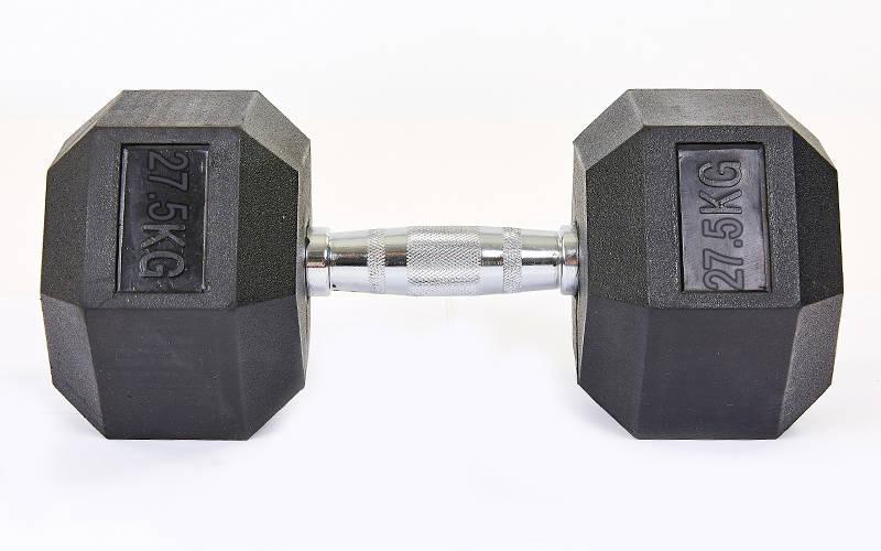 Гантель цельная шестигранная гексагональная SP-Planeta (1шт) SC-8013-27,5 27,5кг (сталь хромированная, резина, вес 27,5кг)