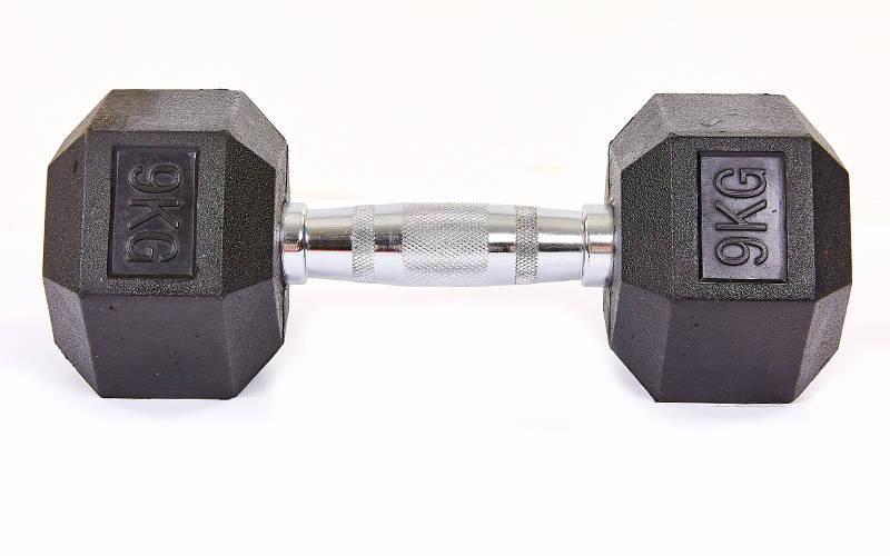 Гантель цельная шестигранная гексагональная SP-Planeta (1шт) SC-8013-9 9кг (сталь хромированная, резина, вес 9кг)