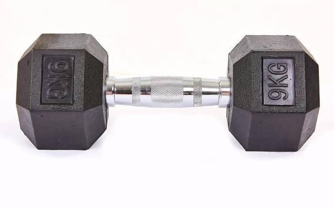 Гантель цельная шестигранная гексагональная SP-Planeta (1шт) SC-8013-9 9кг (сталь хромированная, резина, вес 9кг), фото 2