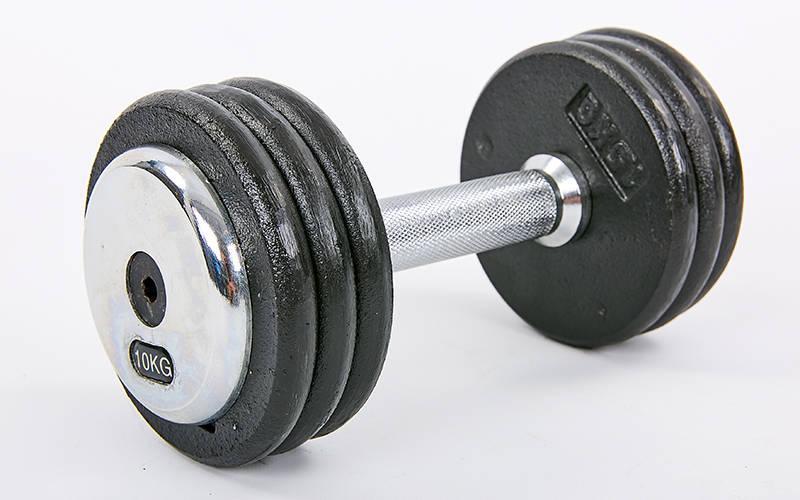 Гантель цельная профессиональная стальная RECORD (1шт) TA-7231-10 10кг (сталь, сталь хромированная, вес 10кг)