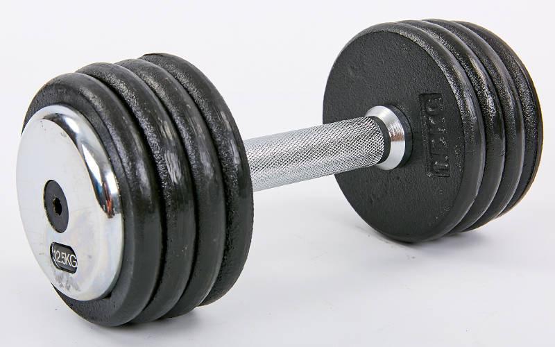 Гантель цельная профессиональная стальная RECORD (1шт) TA-7231-12_5 12,5кг (сталь, сталь хромированная, вес 12,5кг)