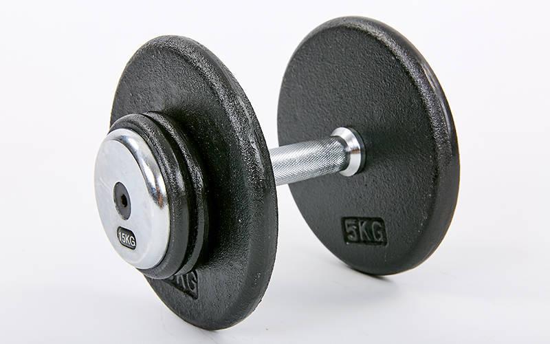 Гантель цельная профессиональная стальная RECORD (1шт) TA-7231-15 15кг (сталь, сталь хромированная, вес 15кг)