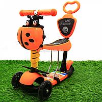 Самокат-беговел Детский транспорт с родительской ручкой 5в1, светящийся (92124)