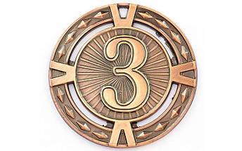 Медаль спортивная без ленты  RAY d-6,5см C-6409 (металл, d-6,5см, 38g 1-золото, 2-серебро, 3-бронза), фото 3