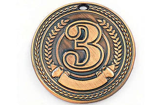 Медаль спортивная без ленты CELEBRITY d-4,5см C-6408 (металл, d-4,5см, 20g 1-золото, 2-серебро, 3-бронза), фото 3