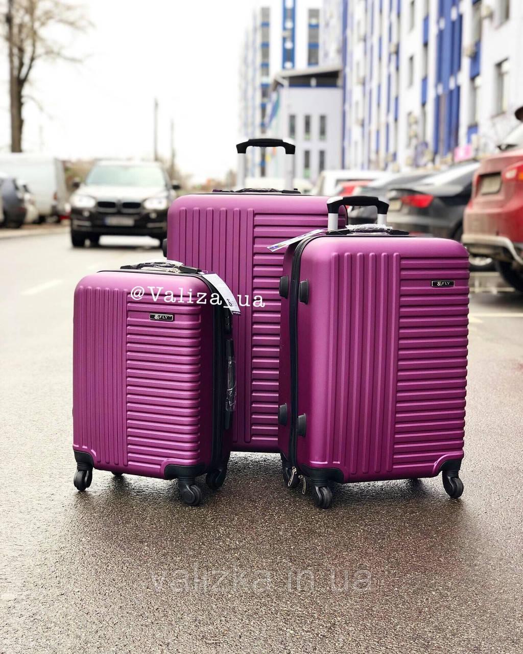 Пластиковый чемодан на 4-х колесах качественный фиолетовый чемодан / Пластикова валіза фіолетова