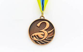 Медаль спортивная с лентой FURORE d-5см C-4868 (металл, d-5см, 25g золото, серебро, бронза), фото 3