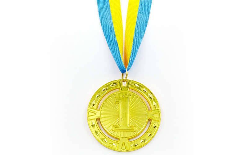 Медаль спортивная с лентой RAY d-6,5см C-6401 (металл, 1-золото,2-серебро,3-бронза d-6,5см, 38g) C-6409