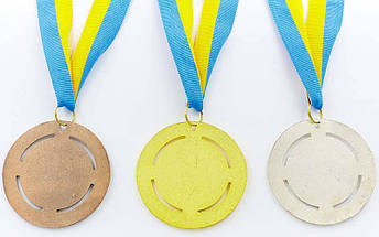 Медаль спортивная с лентой RAY d-6,5см C-6401 (металл, 1-золото,2-серебро,3-бронза d-6,5см, 38g) C-6409, фото 2