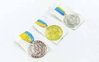 Медаль спортивная с лентой RAY d-6,5см C-6401 (металл, 1-золото,2-серебро,3-бронза d-6,5см, 38g) C-6409, фото 3