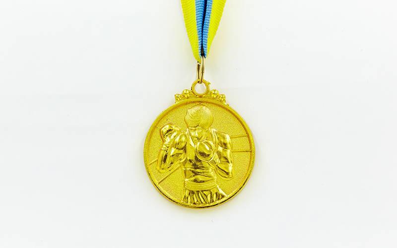 Медаль спортивная с лентой Бокс d-5см C-4337(металл, d-5см, 28g золото, серебро, бронза)