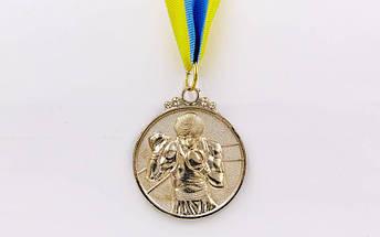 Медаль спортивная с лентой Бокс d-5см C-4337(металл, d-5см, 28g золото, серебро, бронза), фото 2