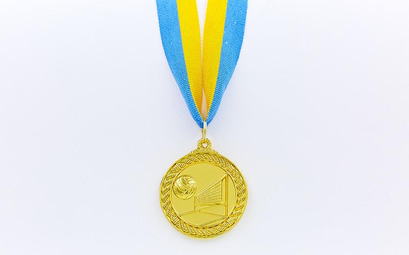 Медаль спортивная с лентой Волейбол d-5см C-7018 (металл, d-5см, 25g, 1-золото, 2-серебро, 3-бронза)