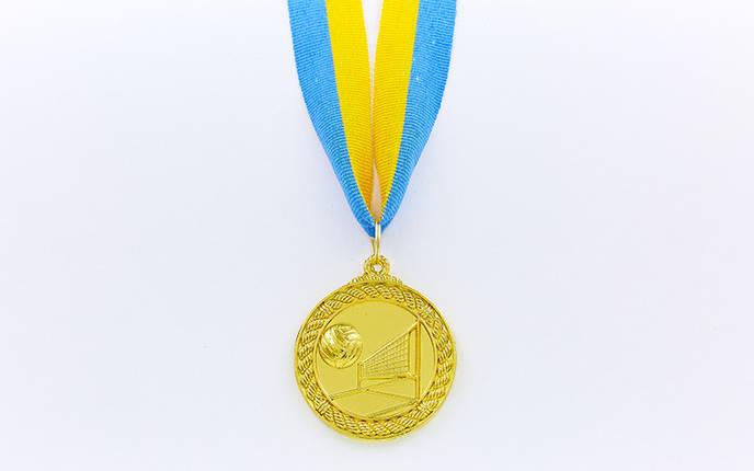 Медаль спортивная с лентой Волейбол d-5см C-7018 (металл, d-5см, 25g, 1-золото, 2-серебро, 3-бронза), фото 2