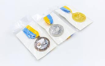Медаль спортивная с лентой Волейбол d-5см C-7018 (металл, d-5см, 25g, 1-золото, 2-серебро, 3-бронза), фото 3