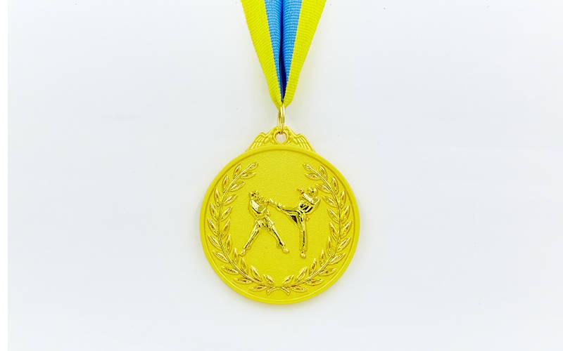 Медаль спортивная с лентой двухцветная d-6,5см Единоборства C-4853 (металл,покр. 2тона, 56g золото, серебро, бронза)